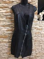 Sukienka mała czarna ze skóry