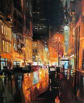 Большая интерьерная картина маслом Ночной город