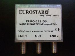 Свитч для спутниковых антенн 2х1 с пластиковым карманом