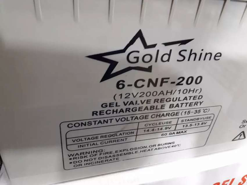 Goldshine 12V200Ah Gel Solar Battery for only R4500 new in a box 0