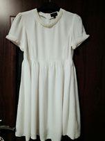 Śliczna kremowa sukienka z krótkim rękawem rozm. 38