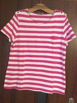 Koszulka (Tu )w biało różowe paseczki z kieszonka rozm 48-50-52