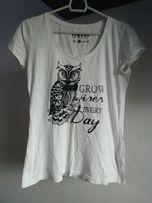 Biała Bluzka Bluzeczka T-shirt z Nadrukiem Sowa M