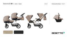 Коляски для двійнят. Новые модели колясок для двойни 2 в 1 Бебетто 42