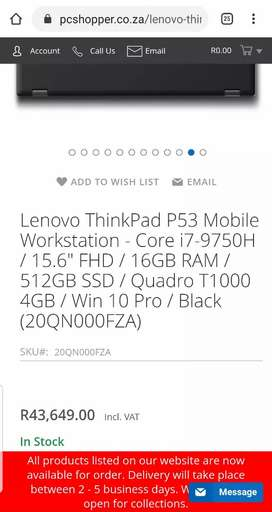 NEW LENOVO THINKPAD P53 INTEL CORE I7 9TH GEN HIGH SPEC WORKSTATION