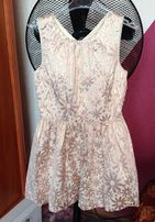 Pudrowa złoty róż rose dziewczęca sukienka M&S