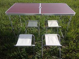 Стол раскладной для пикника + 4 стула , 120Х60см
