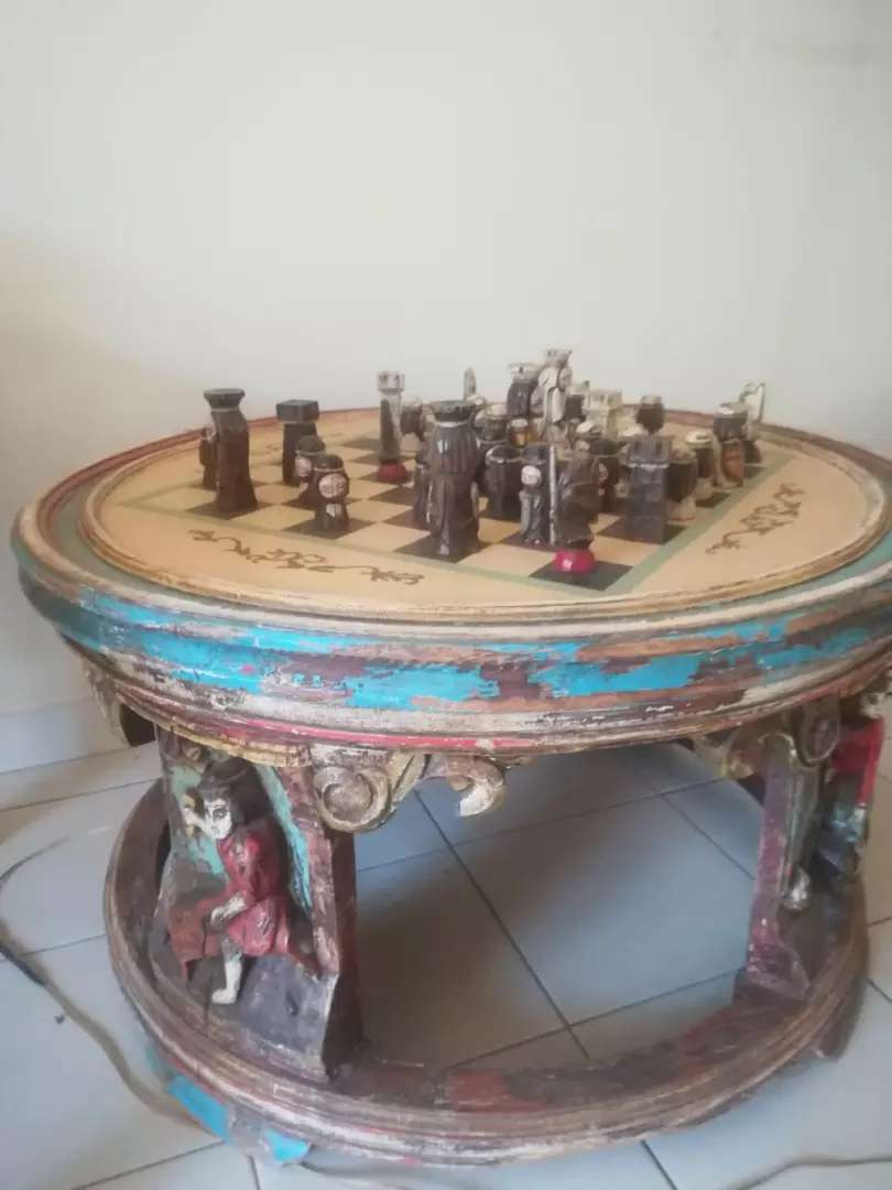 Antique chess table 0