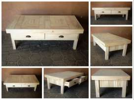 Coffee table Farmhouse series 1400 with drawers - Raw