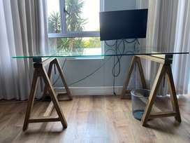 Glass desk for home or office use