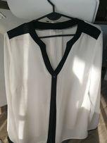 Koszula bluzka elegancka biała z wstawkami czrnymi