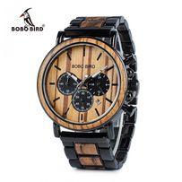 Nowy drewniany zegarek męski, metal, stoper, chronometr
