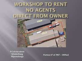 WORKHOP TO RENT - AVAILABLE IMMEDIAELY - NO AGENTS