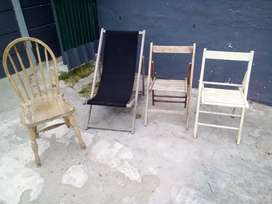 Rustic foldable garden patio chairs