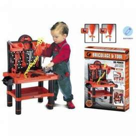 DIY ELECTRIC PLASTIC TOY MECHANIC TOOL BOX SET FOR CHILDREN PLAYING TO