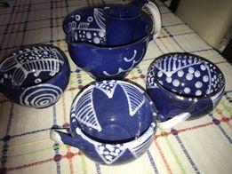 Dzbanek i trzy filiżanki. Ceramiczny zestaw do herbaty. Hand made