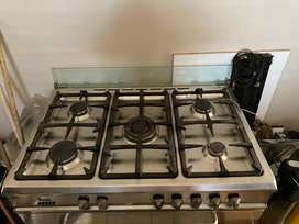 5 plate gas hob with electic oven