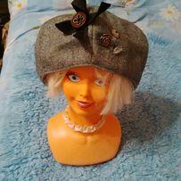 Elegancka czapka damska szara beret szary grafitowy zdobiony blogerska