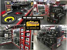 Fitment and supply of Car Audio, tyres, mag wheels, alarm systems, gea