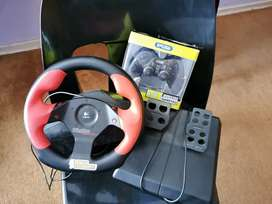 Steering wheel and petrol pedals and remote