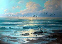 "Картина маслом на холсте"" Море, чайки"" 80х120. На выбор! См. объявлен"