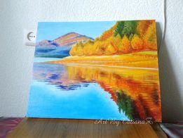 Картина Золотая Осень осенний пейзаж живопись маслом на холсте