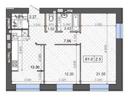 2-х комнатная квартира с перепланировкой в трешку