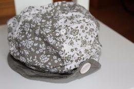czapka kaszkiet lato kwiaty biel oliwka r. 62 jak nowy