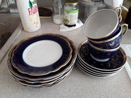 Набор посуды, кобальт, позолота, не полный