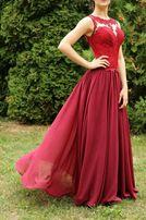 Выпускное вечернее бордовое платье