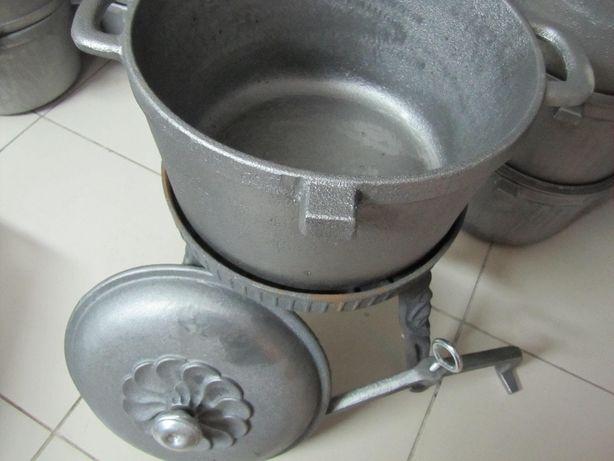 Kociołek żeliwny 10 litrowy Duży Garnek na stojaku zakręcany Rybnik - image 2