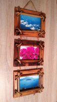 Фоторамка настенная под 3 фотографии, бамбук, 10х15