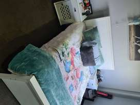 White double bed stand with side tables