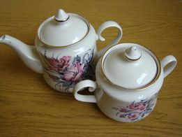 Заварочный чайник с сахарницей. Советский фаянс