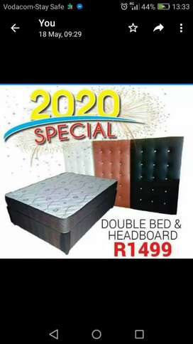 Double bed and headboard for R1499