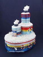 Пароход из подгузников- подарок новорожденному или торт из памперсов