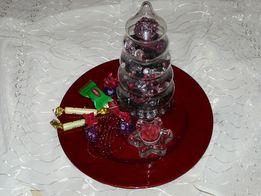 Podkładki pod talerze świece doniczki stroik 33 cm połysk brokat