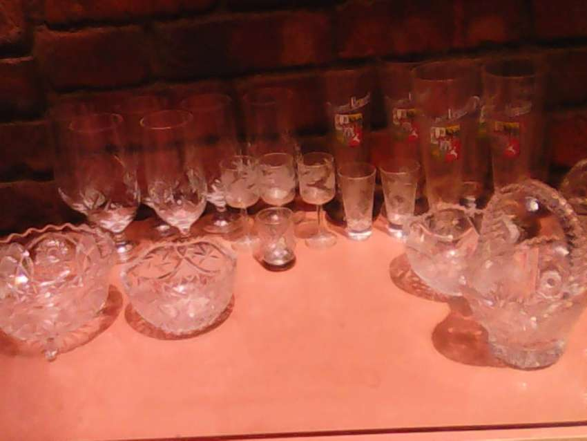 Pure crystal glasses and bowls