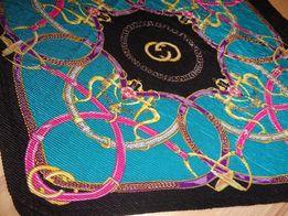 GUCCI modna plisowana kolorowa apaszka chusta OKAZJA jak nowa