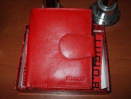 Nowy portfel skóra nat. damski czerwony pudełko