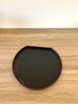 Black Japanese Round Tray with Red Trim