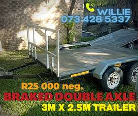 BRAKED DOUBLE Axle Trailer 3m x 2.5m For Sale