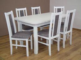Piękny Biały Stół Rozkładany + 6 Krzeseł. NAJNIŻSZE CENY! Sprawdź