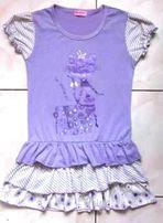 Sukienka/tunika z brokatowym kotkiem rozm 140-146 jak nowa