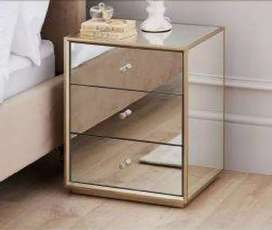 Set of 2(3 draw mirror Champaign sides mirror pedestals for sale