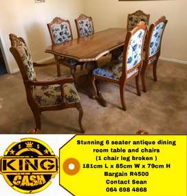 Antique 6 seater dining room set