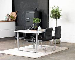 Krzesła czarne nowoczesne metalowe nóżki do renowacji wygodne 4 szt