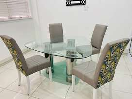 4 Piece Chair & Glass Table Dining Room Set