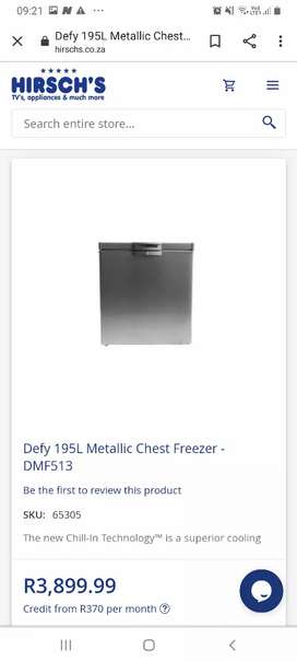Defy chest freezer