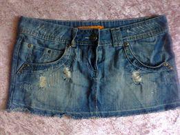 Spódniczka mini jeansowa z rozdarciami blogerska melanżowa instagram